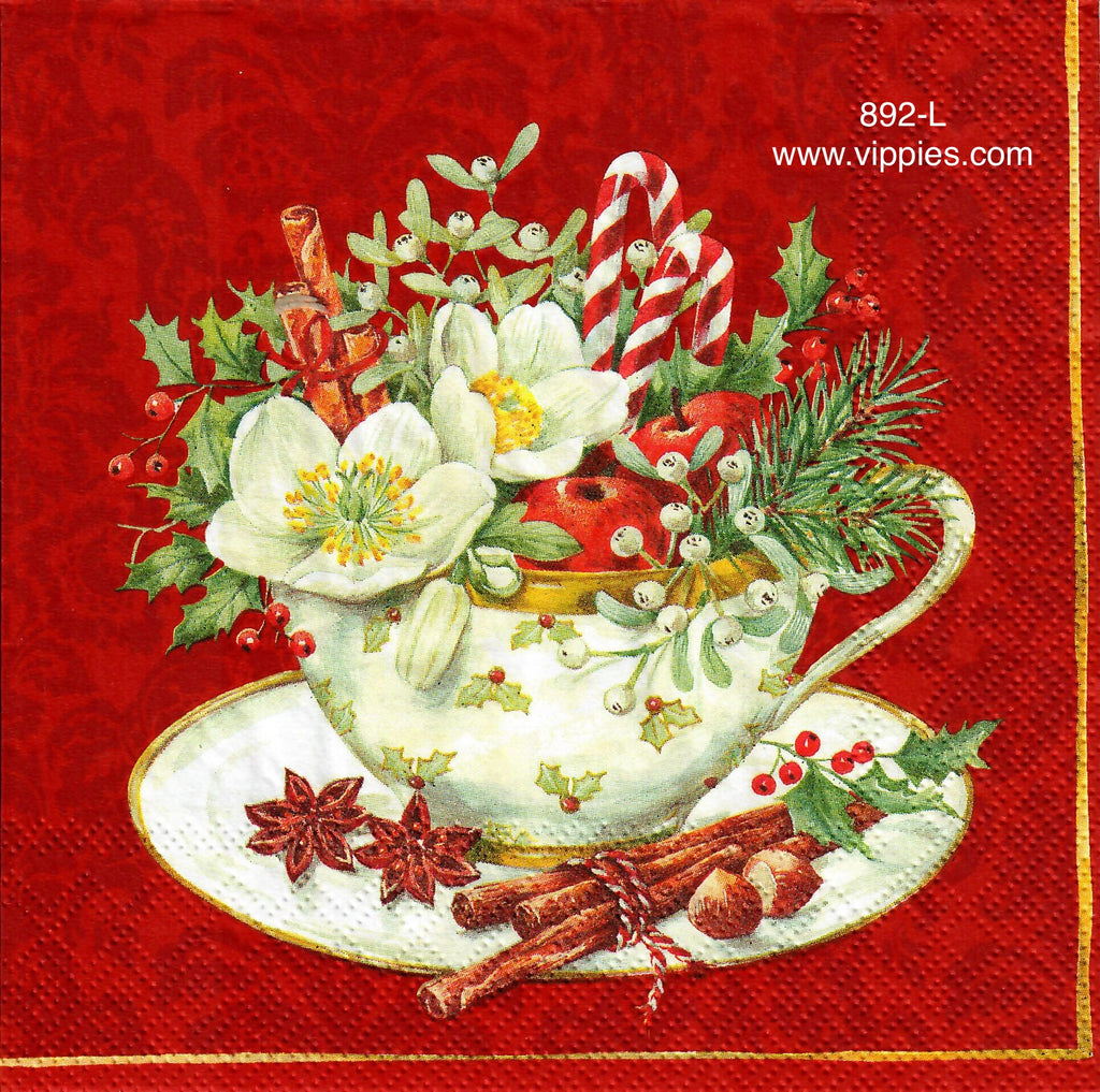 C-892 Christmas Tea Cup Napkin for Decoupage