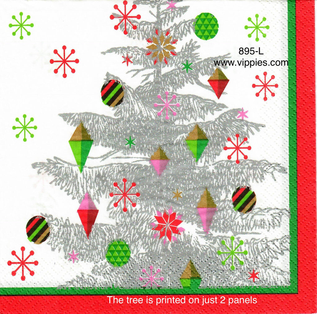 C-895 Silver Tree Modern Ornaments Napkin for Decoupage