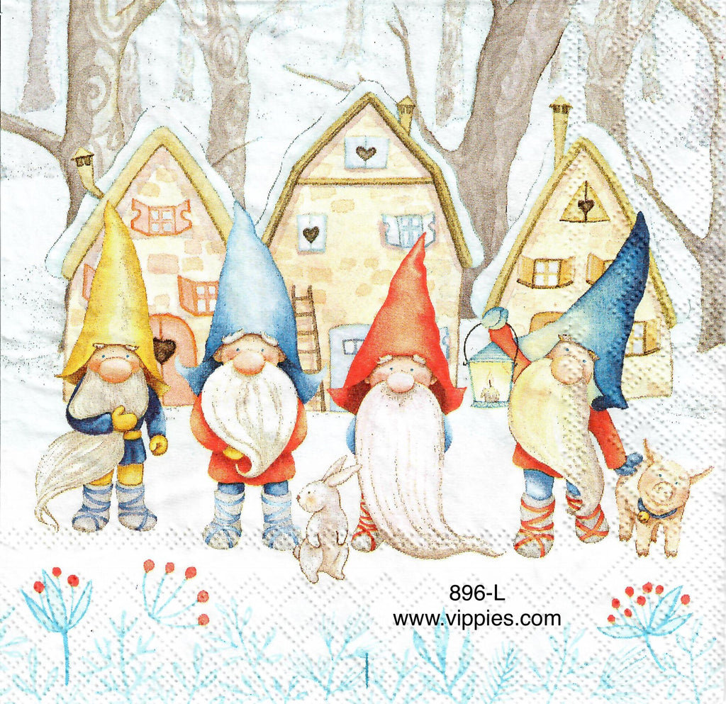 C-896 4 Gnomes Houses Napkin for Decoupage