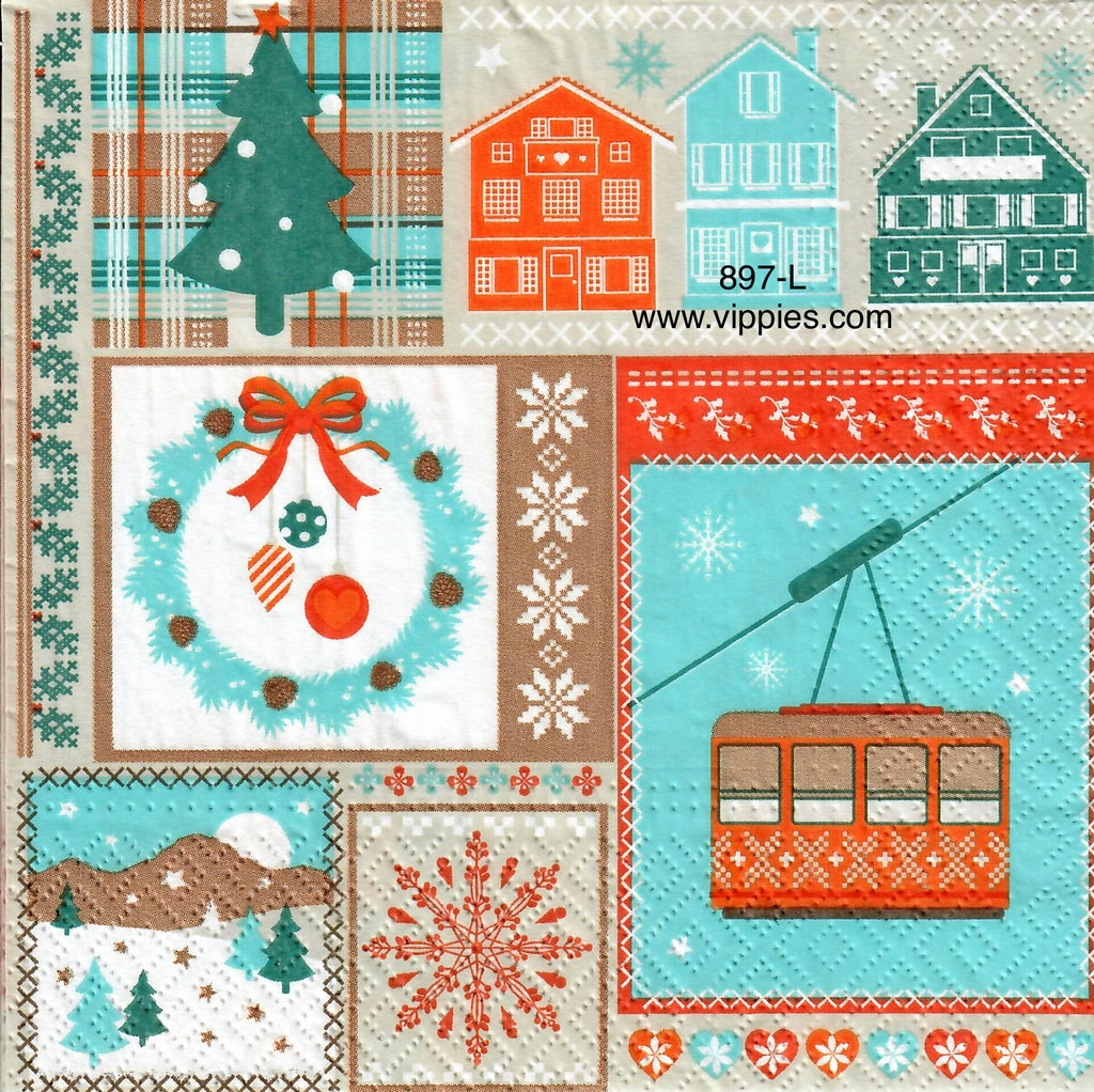 C-897 Nordic Christmas Scenes Napkin for Decoupage