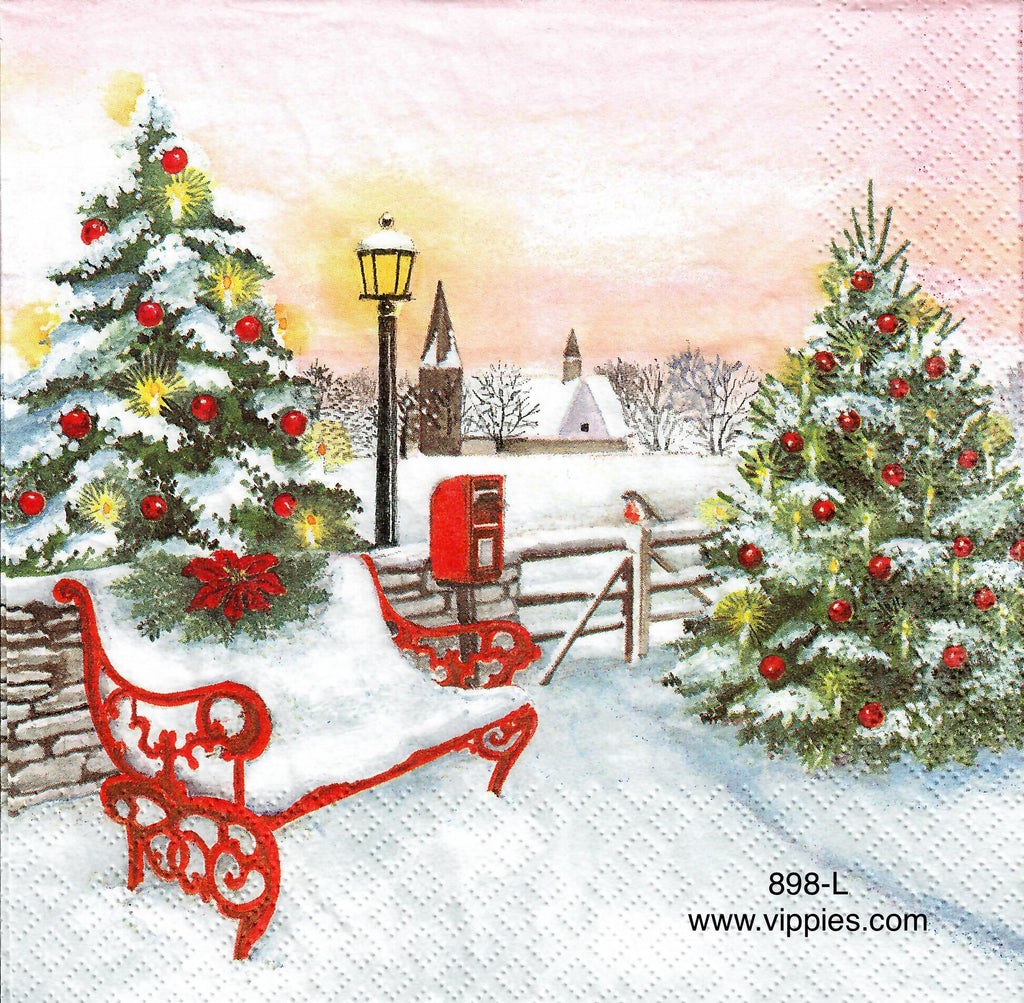 C-898 Snowy Park Bench Napkin for Decoupage