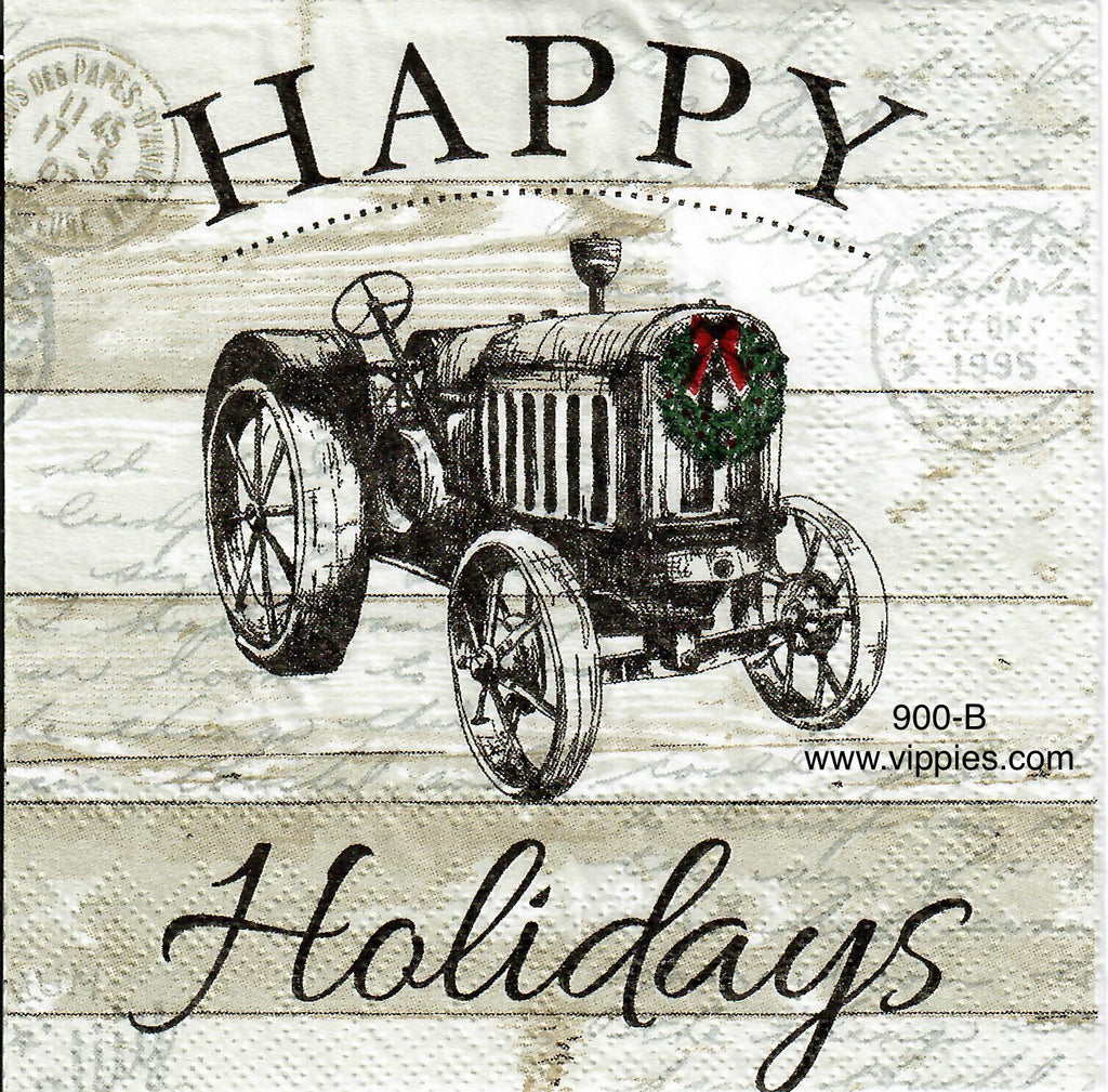 C-900 Happy Holidays Tractor Napkin for Decoupage