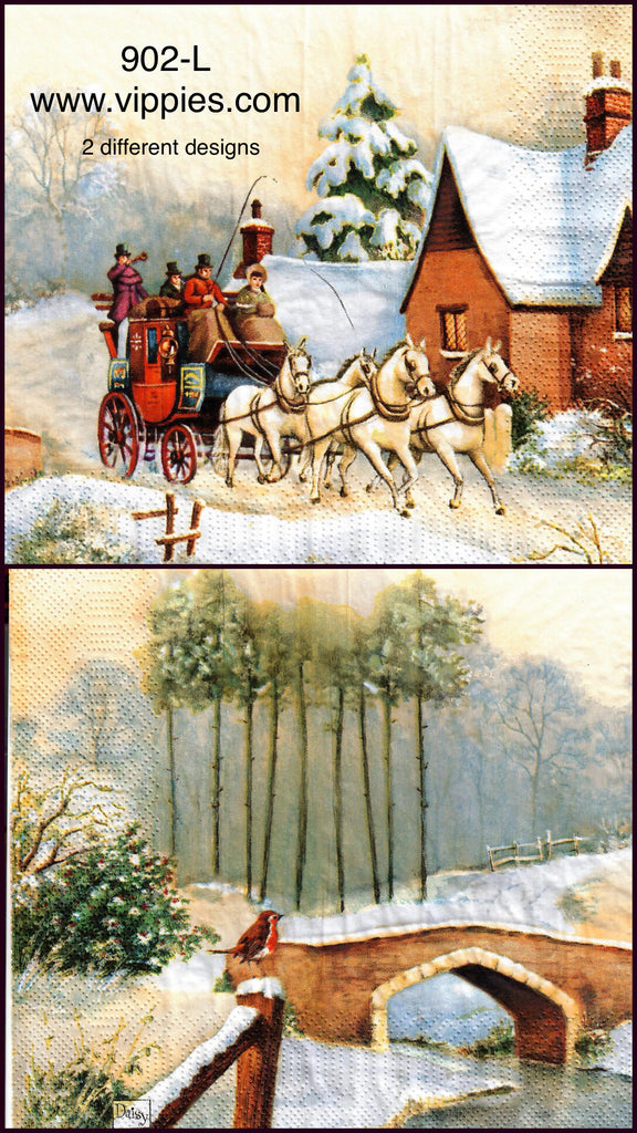 C-902 Winter Horse and Carriage Napkin for Decoupage
