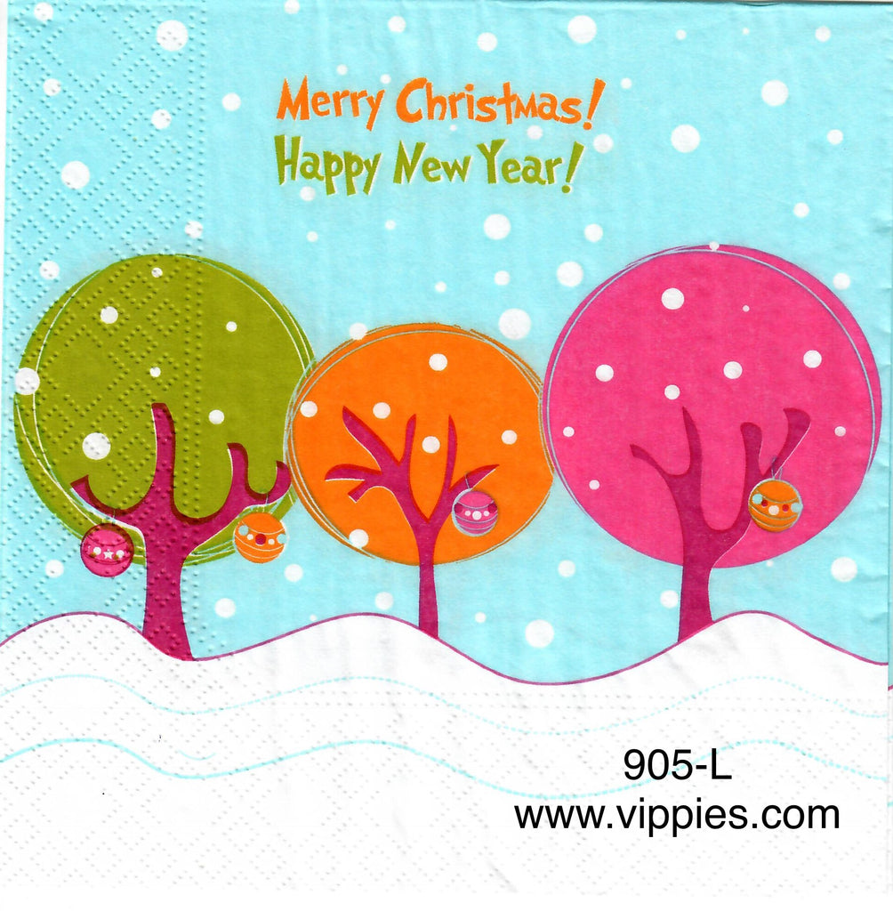 C-905 Merry Happy Cartoon Trees Napkin for Decoupage