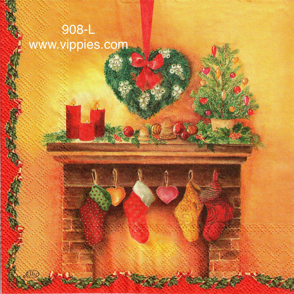 C-908 Decorative Fireplace Napkin for Decoupage