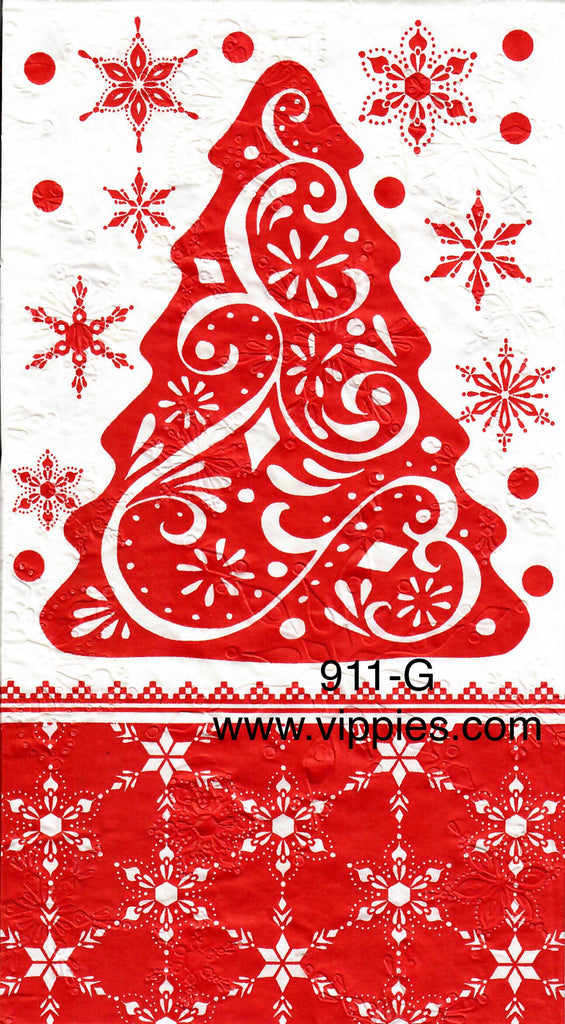 C-911 Dutch Red Tree Guest Napkin for Decoupage