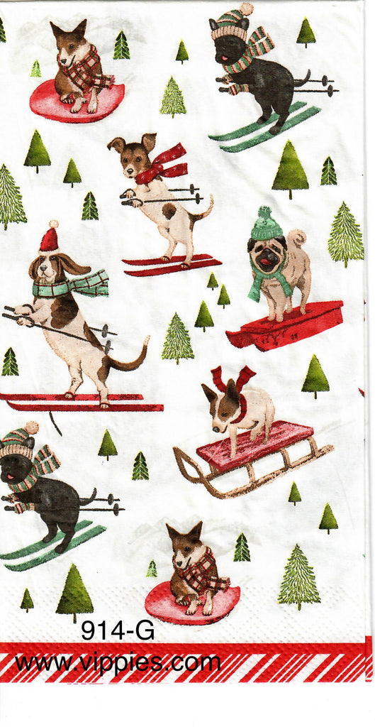 C-914 Dogs on Sleds Guest Napkin for Decoupage