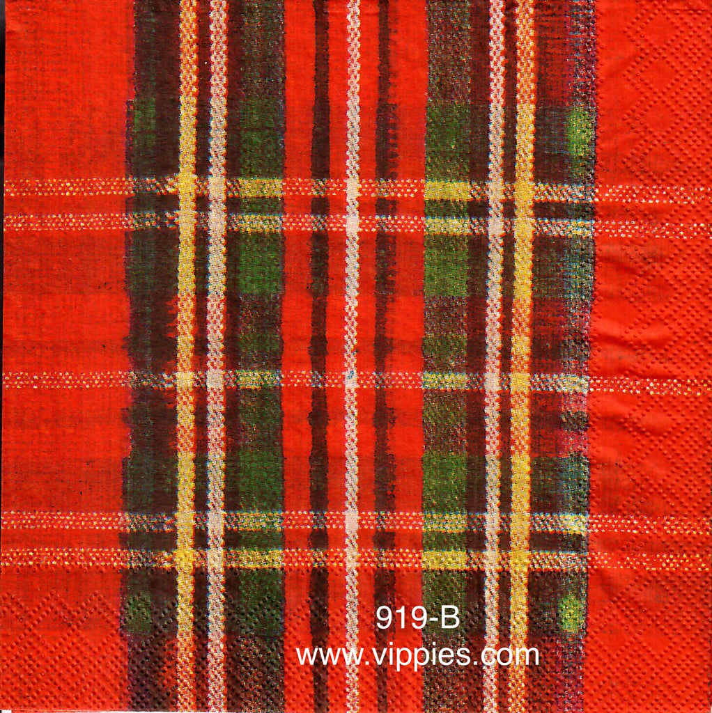 C-919 Red Scotch Plaid Napkin for Decoupage