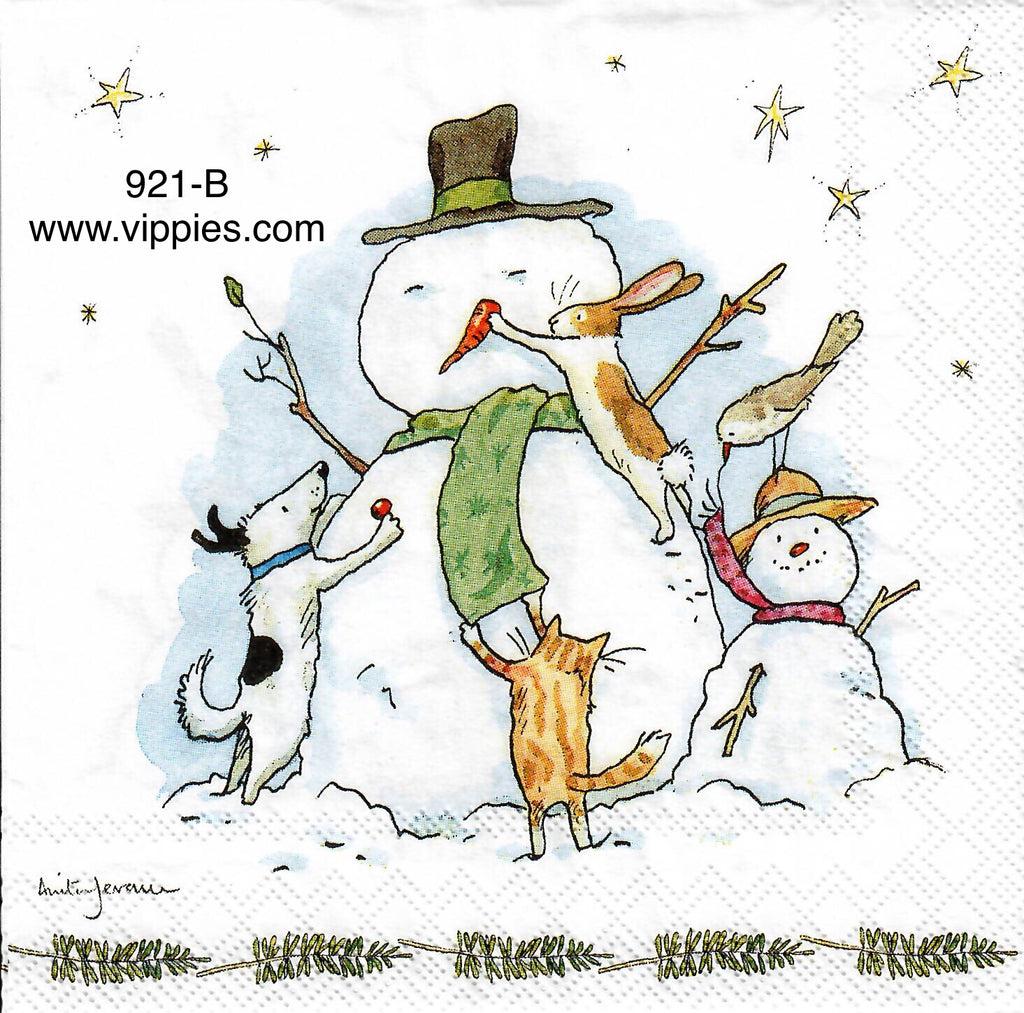 C-921 Snowman Animal Friends Napkin for Decoupage