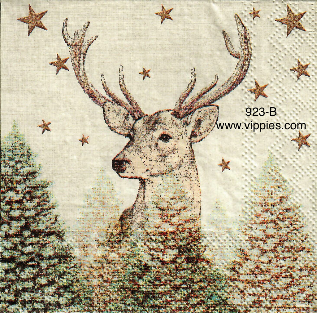 C-923 Brown Buck Trees Napkin for Decoupage