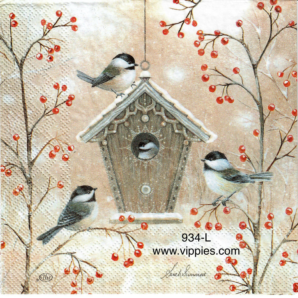 C-934 Beautiful Birdhouse Birds Napkin for Decoupage