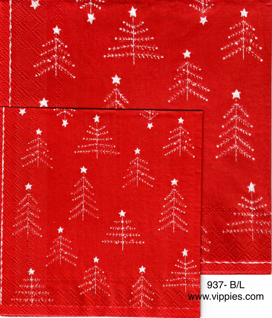 C-937 Red with Feather Trees Napkin for Decoupage