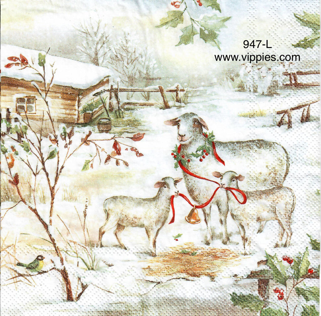 C-947 Sheep in Snow Ribbon Napkin for Decoupage