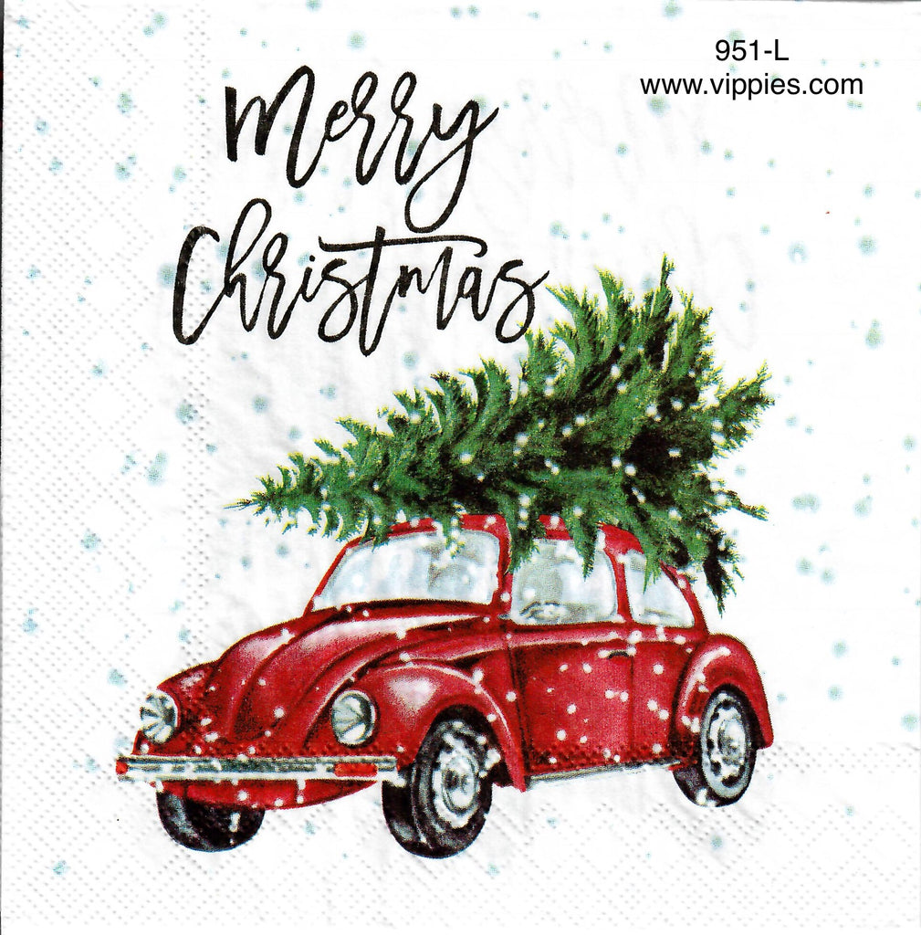 C-951 Red VW Merry Christmas Napkin for Decoupage
