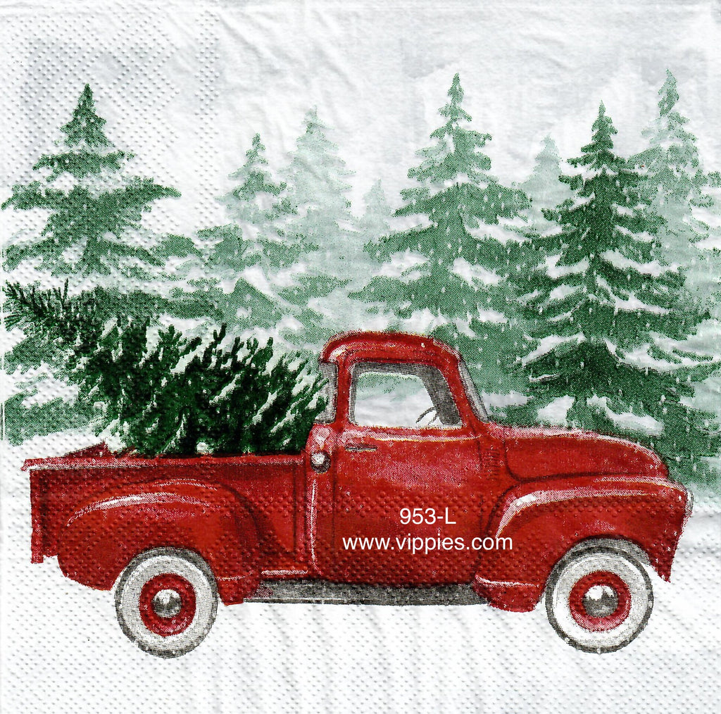 C-953 Red Pickup By Trees Napkin for Decoupage