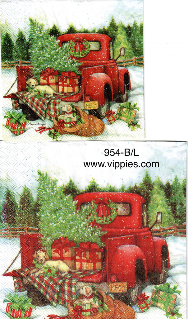 C-954 Red Pickup Goldens Napkin for Decoupage