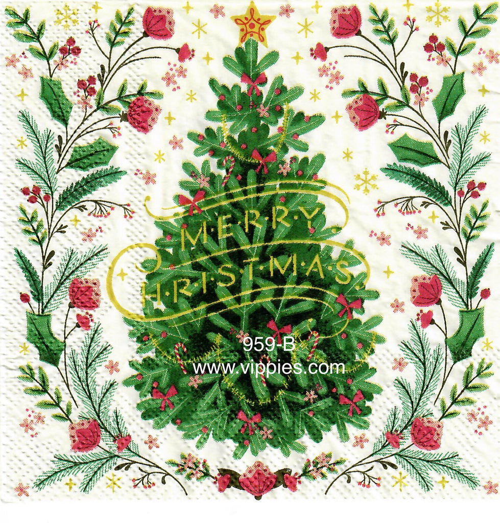 C-959 Floral Christmas Tree Napkin for Decoupage