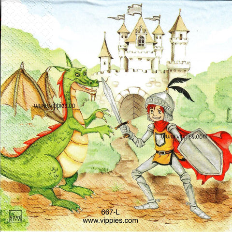 CHILD-667 Knight and Dragon Napkin for Decoupage