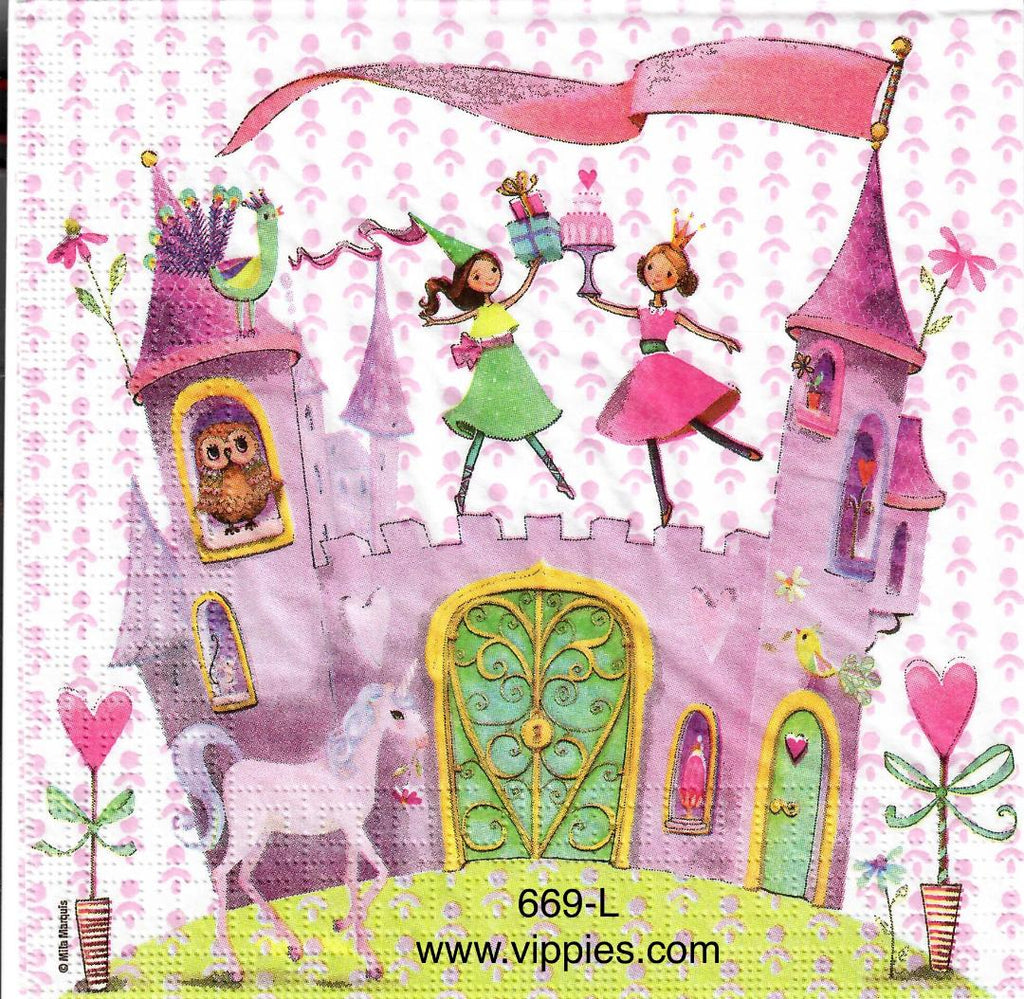 CHILD-669 Princess Castle Napkin for Decoupage