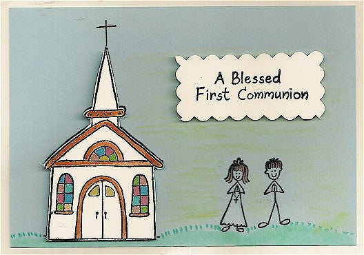 Blessed First Communion Rubber Stamp 2502C