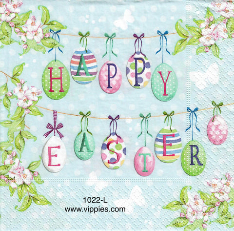 EAST-1022 Happy Easter Hanging Eggs Napkin for Decoupage