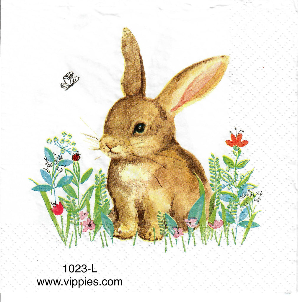 EAST-1023 Brown Bunny Flowers Napkin for Decoupage