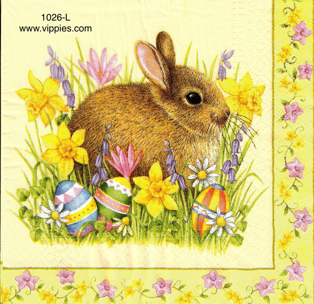 EAST-1026 Brown Bunny Daffodils Napkin for Decoupage