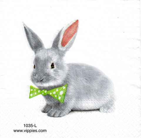 EAST-1035-L Gray Bunny Bowtie Napkin for Decoupage