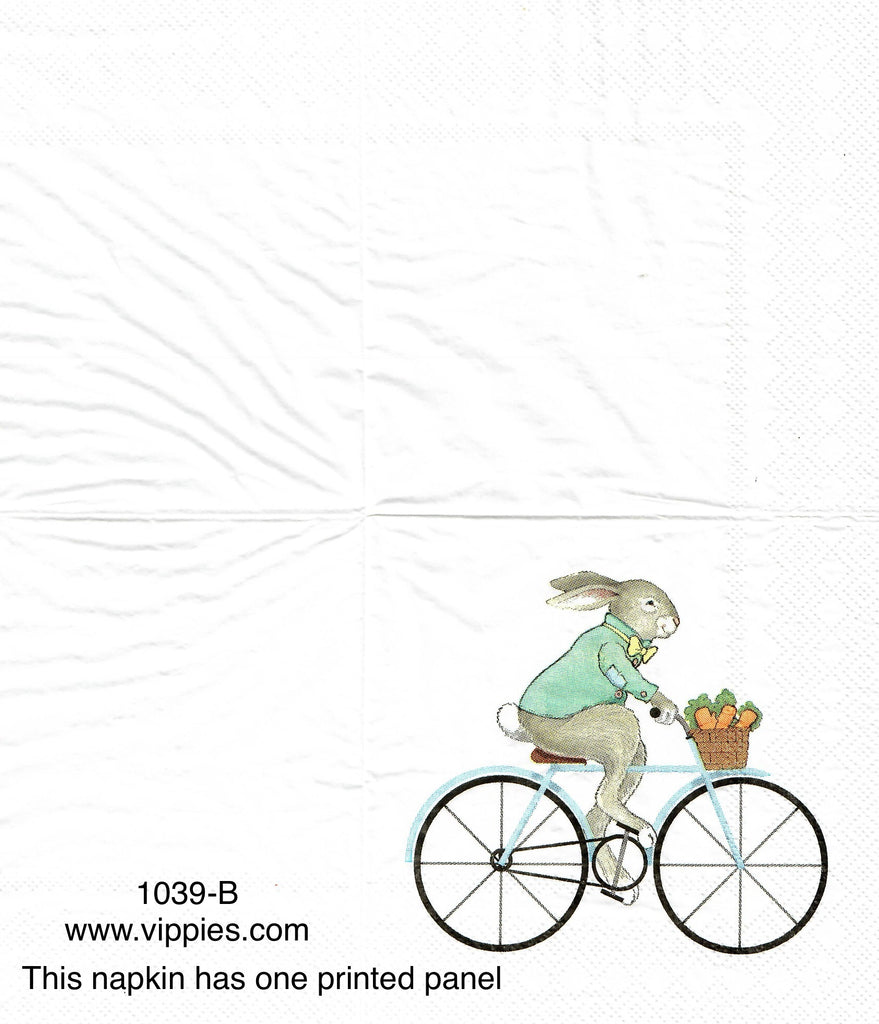EAST-1039 Bunny Bike Napkin for Decoupage