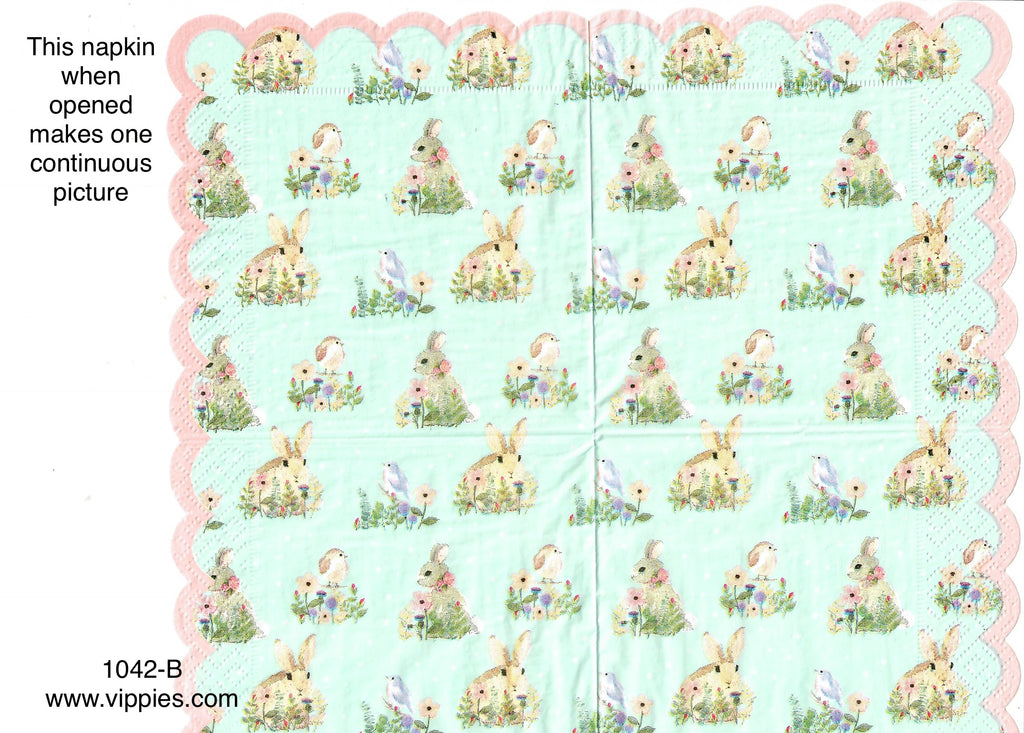 EAST-1042 Vintage Bunnies Napkin for Decoupage