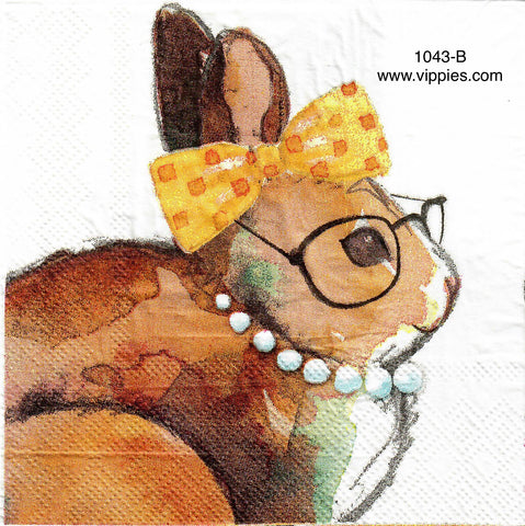 EAST-1043 Bunny Pearls Bow Napkin for Decoupage