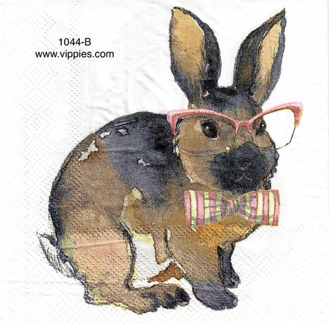 EAST-1044 Pink Bowtie Bunny Glasses Napkin for Decoupage