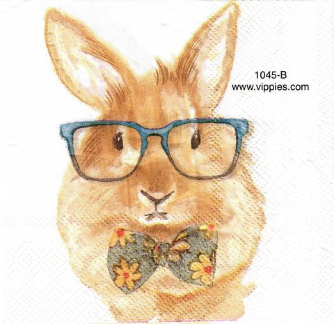 EAST-1045 Bowtie Bunny Blue Glasses Napkin for Decoupage