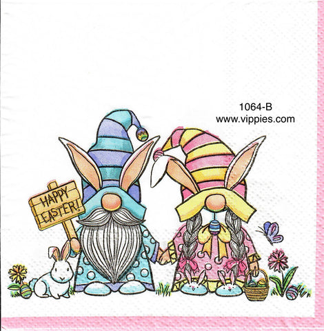 EAST-1064 Bunny Gnome Couple Napkin for Decoupage