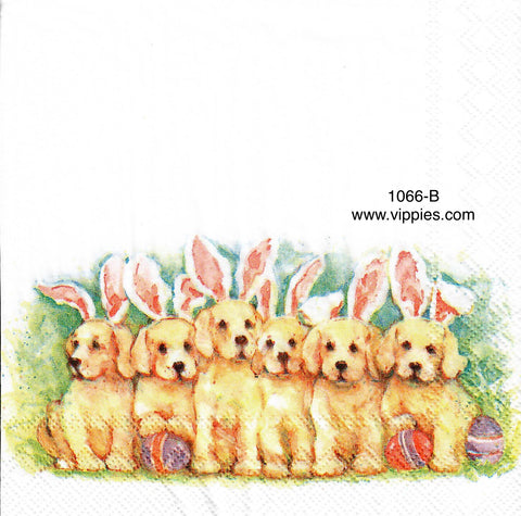 EAST-1066 Golden Dogs Bunnies Napkin for Decoupage