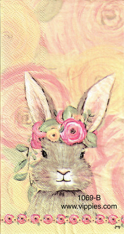 EAST-1069-G Pretty Floral Bunny Head Guest Napkin for Decoupage