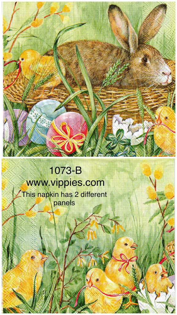 EAST-1073-B Bunny Chicks Basket Napkin for Decoupage