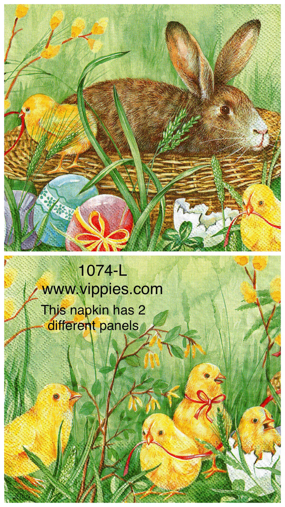 EAST-1074-L-Bunny Chicks Basket Napkin for Decoupage