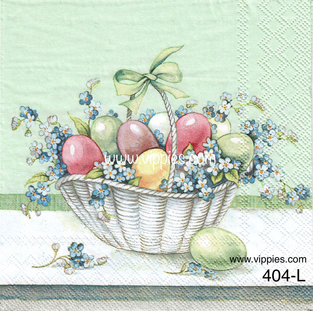 EAST-404 Eggs & Flowers in Basket Napkin for Decoupage