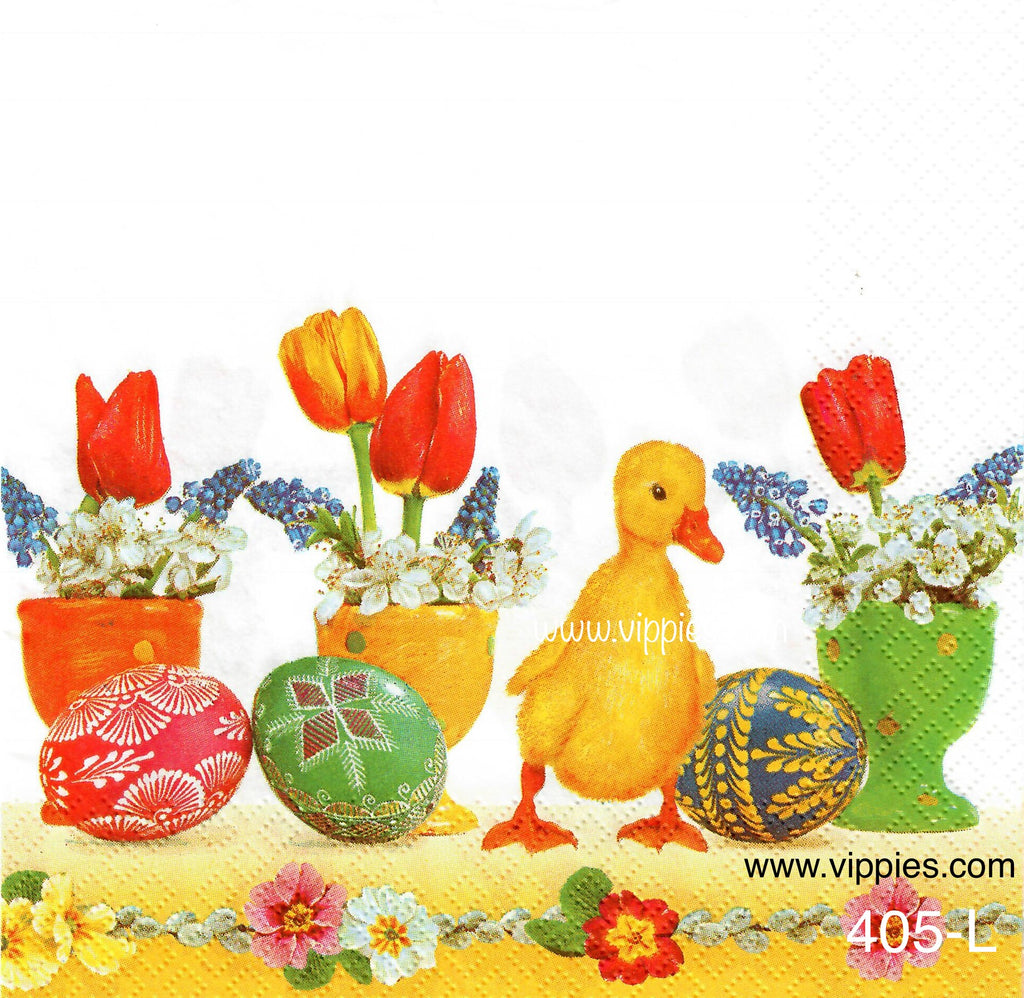 EAST-405 Duck Tulips Eggs Napkin for Decoupage