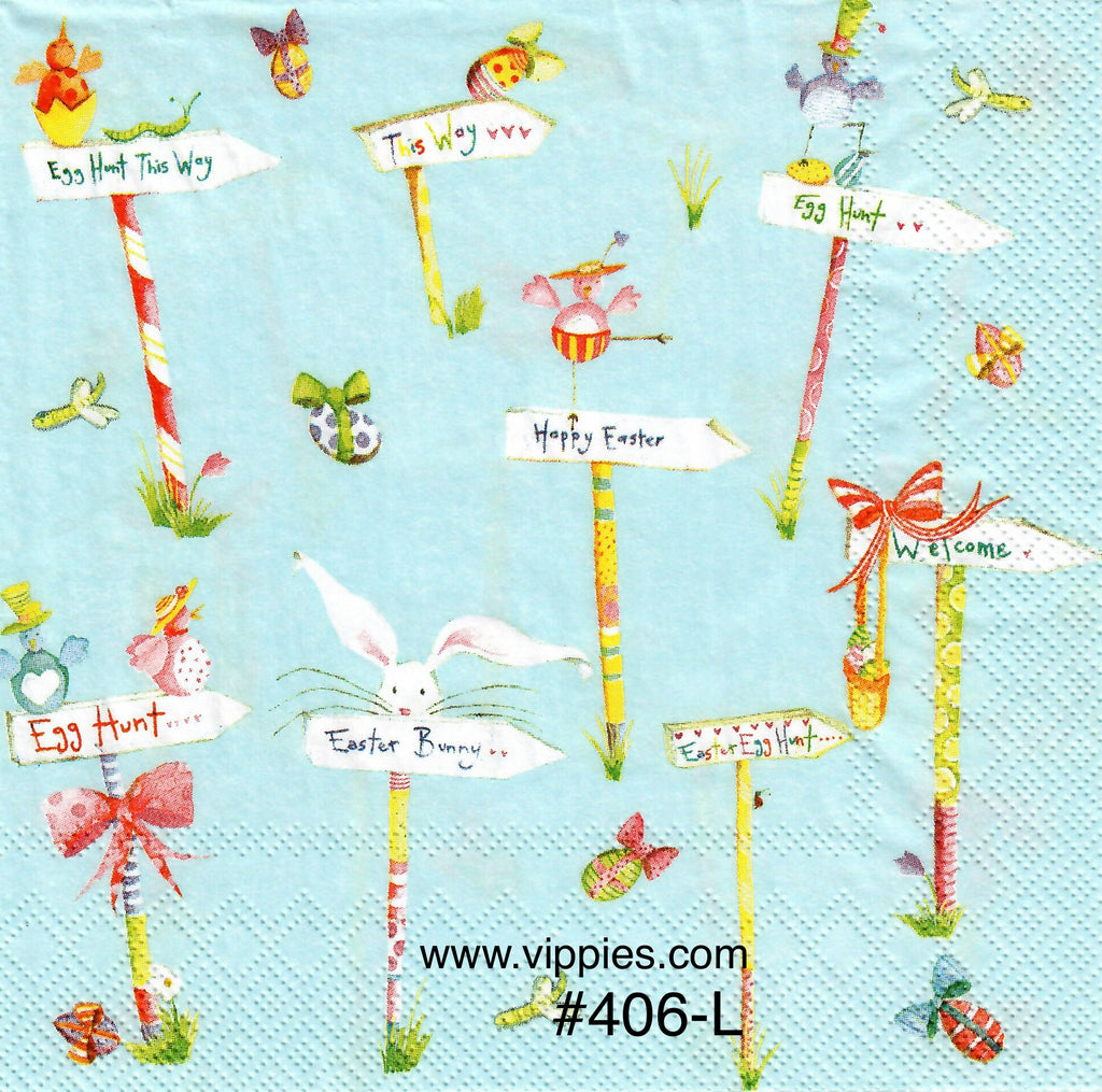 EAST-406 Easter Signposts Napkin for Decoupage