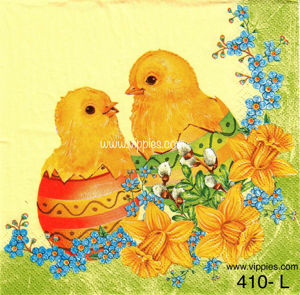 EAST-410 Chicks in Eggs Napkin for Decoupage
