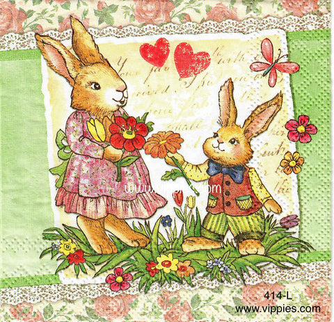 EAST-414 Bunny Mom/Child Napkin for Decoupage