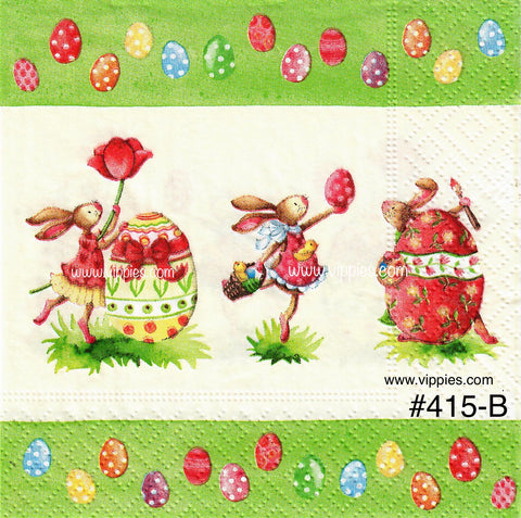 EAST-415 Dancing Bunnies Eggs Napkin for Decoupage