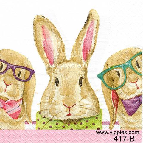 EAST-417 3 Bunny Glasses Napkin for Decoupage