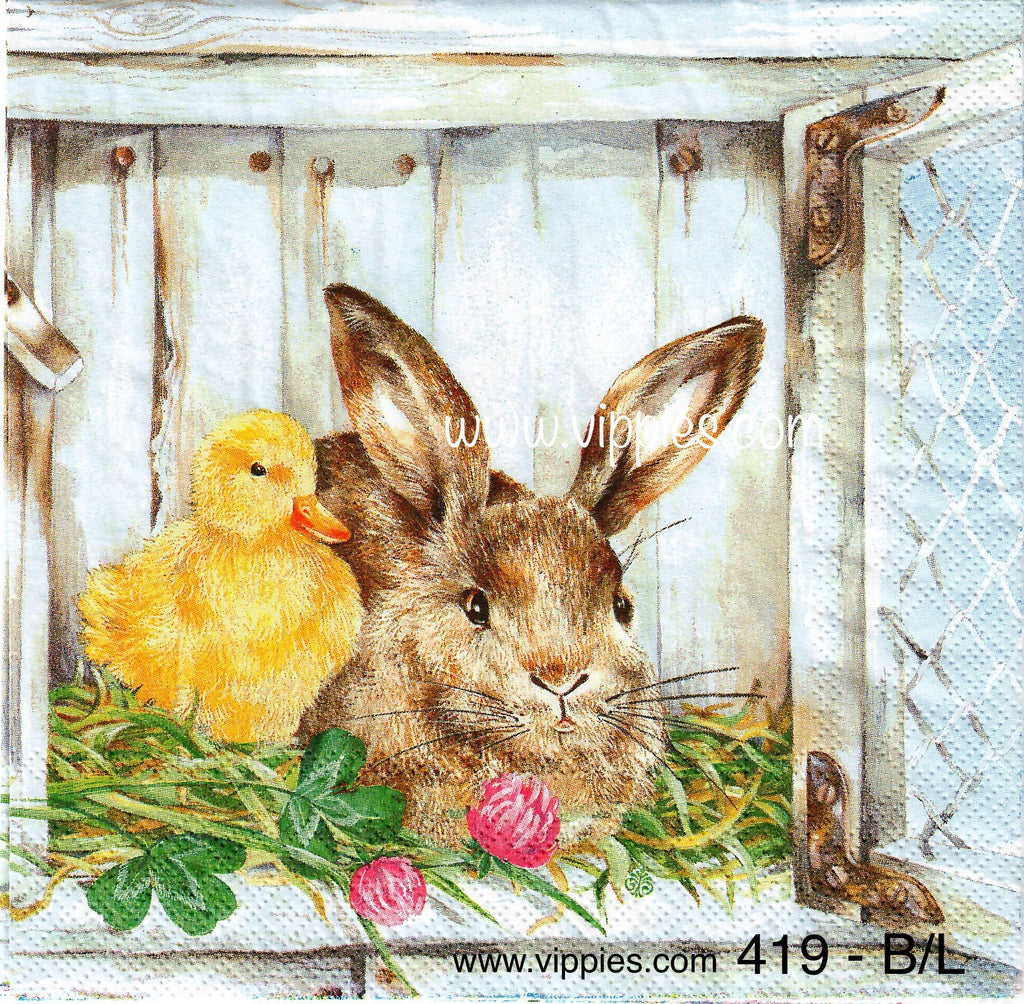 EAST-419 Bunny Chick Fence Napkin for Decoupage