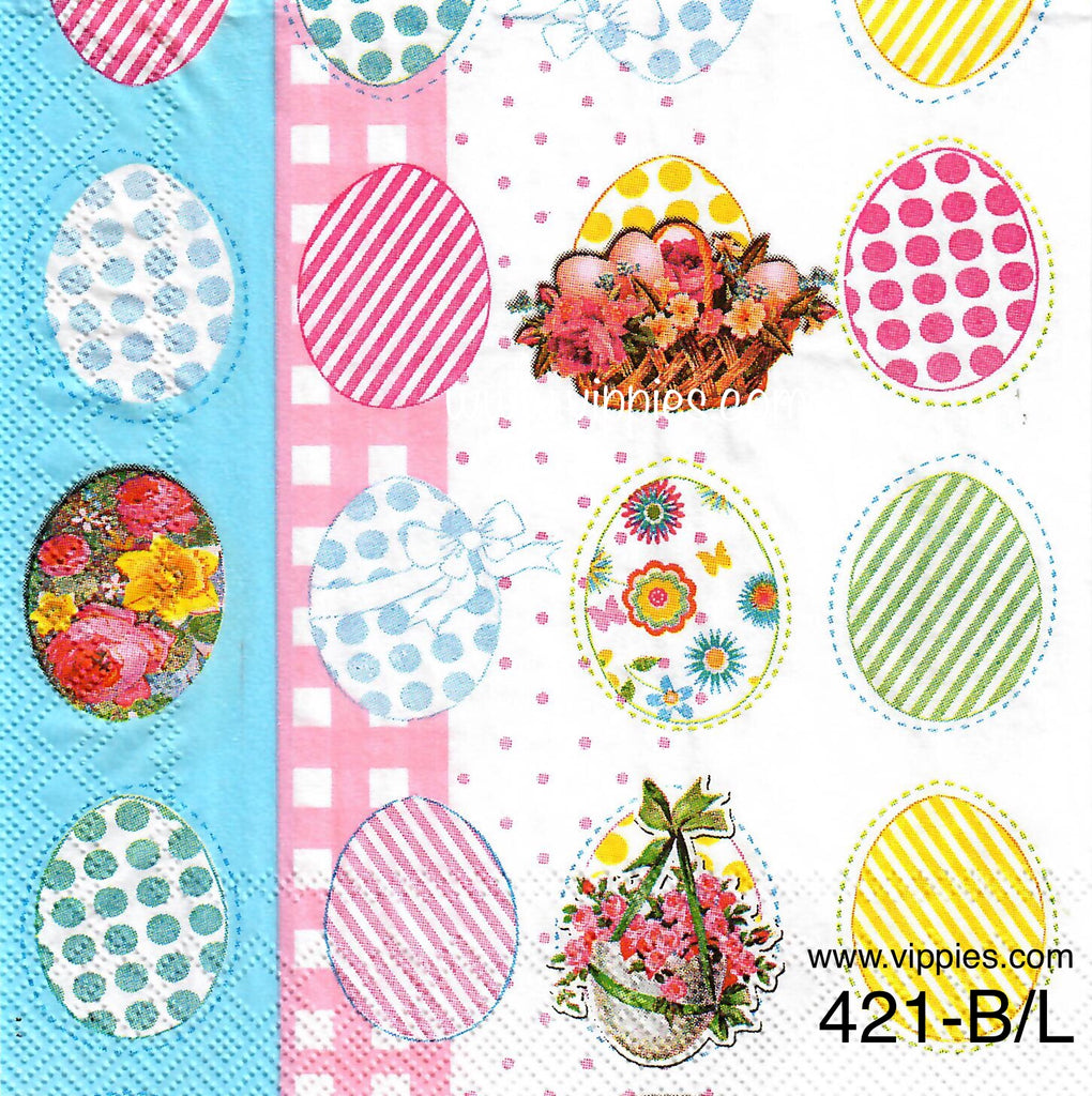 EAST-421 Eggs Gingham Stripes Napkin for Decoupage