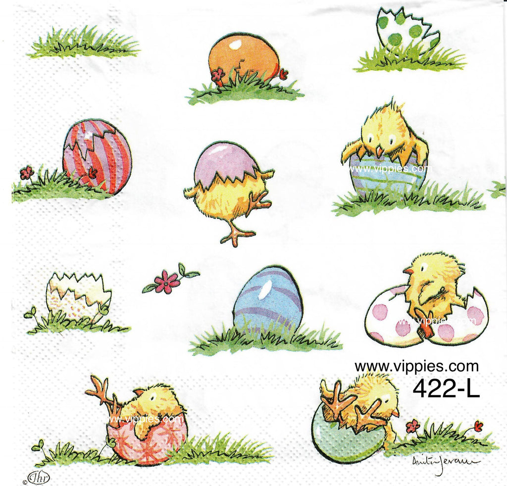 EAST-422 Chicks Playing in Eggs Napkin for Decoupage