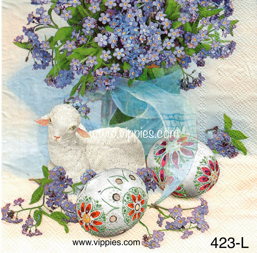 EAST-423 Lamb Eggs Lilacs Napkin for Decoupage
