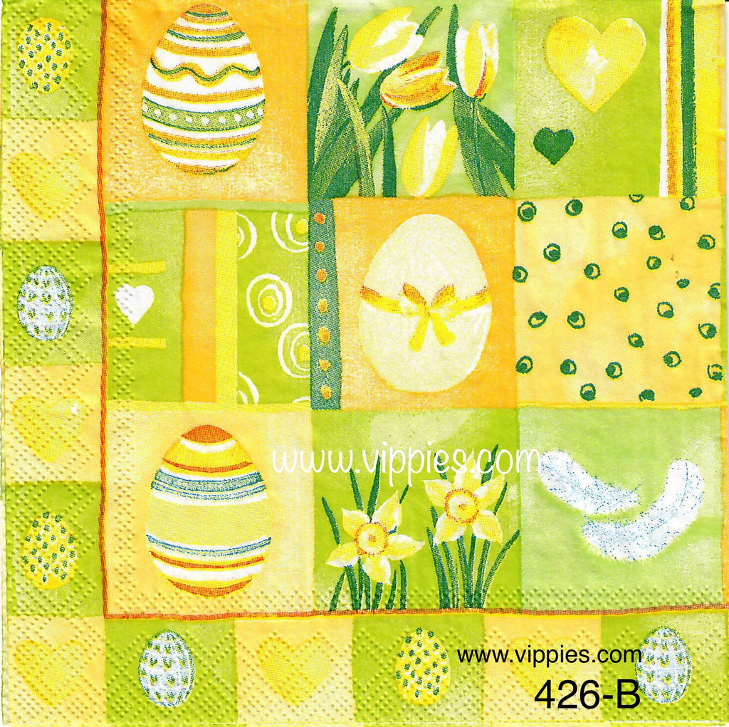 EAST-426 Easter Patchwork Napkin for Decoupage